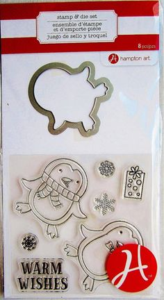 This clear stamp set comes with a coordinating die which works with many die-cut machines including the Sizzix Bigshot, Bigkick and Vagabond machines, and with the Cuttlebug machine with the C plate.  It is brand-new in its factory-sealed original packaging, and will be shipped promptly via First Class Mail.