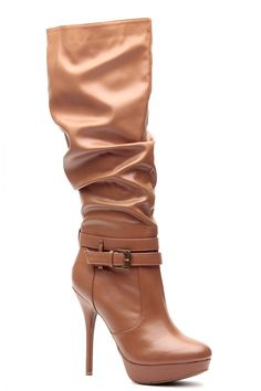 Cognac Faux Leather Knee High Buckled Platform Boots @ Cicihot Boots Catalog:women's winter boots,leather thigh high boots,black platform knee high boots,over the knee boots,Go Go boots,cowgirl boots,gladiator boots,womens dress boots,skirt boots.