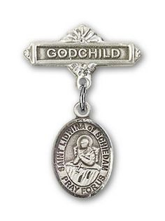 IceCarats Designer Jewelry Sterling Silver St Lidwina Of Schiedam Charm Godchild Badge Pin 1 X 58 * Click on the image for additional details.