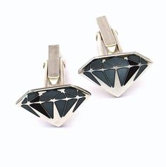 Diamond Geeza Sterling Silver Cufflinks Enamel by eanjewellery #btnetsy #brighton #handmade