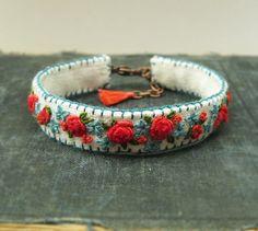Spring Garden Hand Embroidered Boho Cuff Bracelet