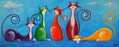 """Five Jolly Cats"" Acrylics, canvas"