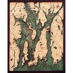Narragansett Newport Wood Map, 3D Nautical Art, Carved Relief Chart $295