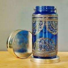 Azure Blue Glass Moroccan Jar Lantern with Dark Pewter Detailing Painted Mason Jars, Mason Jar Lamp, Candle Jars, Mehndi Decor, Moroccan Lanterns, Moroccan Decor, Moroccan Style, Bottles And Jars, Glass Bottles