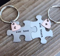 Puzzle pieces hand stamped keychain set his and her door CMKreations