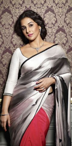 Bollywood's leading actress, Vidya Balan, has always created an iconic statement with her traditional style. This season, Vidya Balan dons a distinct look. Sari Design, Bollywood Celebrities, Bollywood Actress, Bollywood News, Indian Dresses, Indian Outfits, Lehenga, Sabyasachi, Vidya Balan Hot