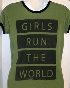 MIGHTY FINE GIRLS RUN THE WORLD GREEN GRAPHIC T-SHIRT SIZE MEDIUM #MightyFine #TShirt