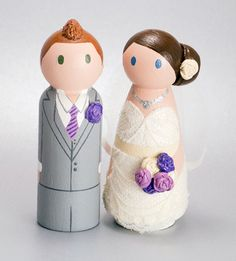 wedding peg doll cake topper with lace and tulle