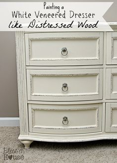Painting a White Veneered Dresser to Look Like Distressed Wood Using Annie Sloan Chalk Paint Old White