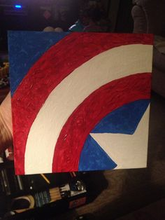 Captain America Shield I painted in acrylic paint on an 8x8 canvas board for one of my employees. Not too shabby for free hand. Avengers Assemble