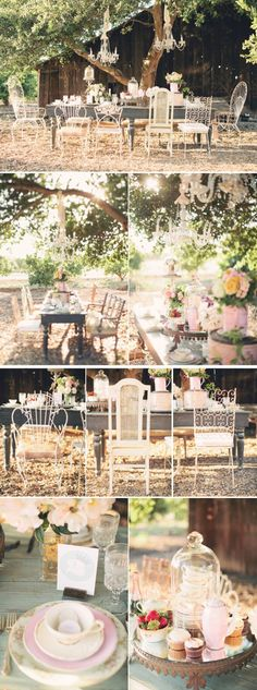 garden party outside afternoon tea party - love to do this its a fantasy setting under the tree - loving the mismatched chairs and aged wooden table, charming teacup table settings and jumbled vibe! Outdoor Bridal Showers, Garden Bridal Showers, Outdoor Parties, Garden Shower, Garden Party Decorations, Decoration Table, Outdoor Decorations, Wedding Table Settings, Wedding Chairs