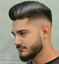Men's Hairstyle: How to Style The Pompadour Fade. September 2016 by Justlifestyle™ This mens pompadour haircut is f. Cool Hairstyles For Men, Hairstyles Haircuts, Haircuts For Men, Haircut Men, Medium Hairstyles, Modern Haircuts, Wedding Hairstyles, Latest Hairstyles, Hairstyle Men