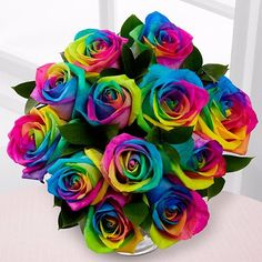 Celebrate Rainbow Rose Bouquet Lisa-Frank-ish rainbow roses from FTD. Someone please send me some!Lisa-Frank-ish rainbow roses from FTD. Someone please send me some!