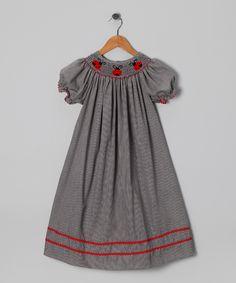Black Gingham Ladybug Bishop Dress - Infant, Toddler & Girls