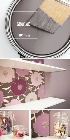 You don't need much to complete a DIY home makeover project. All it takes is a fresh coat of paint! This sewing room refresh uses the dark and moody hue of Graylac by BEHR Paint to create a modern sty Interior Paint Colors, Paint Colors For Home, House Colors, Behr Paint Colors, Dark Paint Colors, Paint Color Schemes, Decoration Inspiration, Decor Ideas, My New Room