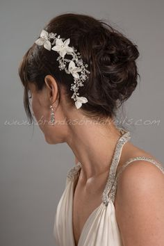 Wedding Rhinestone Hair Vine Silk Flower by brendasbridalveils