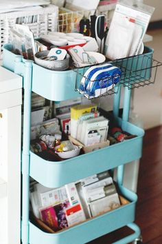 Creative ideas for organizing your scrapbook supplies using the Raskog cart from IKEA