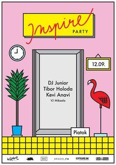 *Inspire Party* Posters on Behance Layout Design, Web Design, Creative Design, Design Styles, Line Illustration, Graphic Design Illustration, Digital Illustration, Party Poster, Poster On