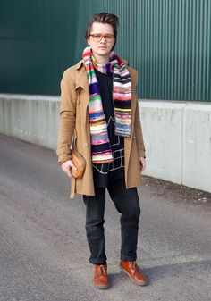 """From Finnish fashion blogs """"Hel Looks""""    """"I'm wearing frames from Runebergin Silmälasi, a scarf from a Danish design school's Xmas market, a Daniel Palillo t-shirt, a Hanna Sarén trench coat (my most expensive fashion item), my friend's old trousers and shoes which my mother bought me as a graduation gift."""""""