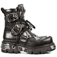 New Rock Boots - 407 - Black Ankle Boot w/ Silver Cross - mens and ladies sizes
