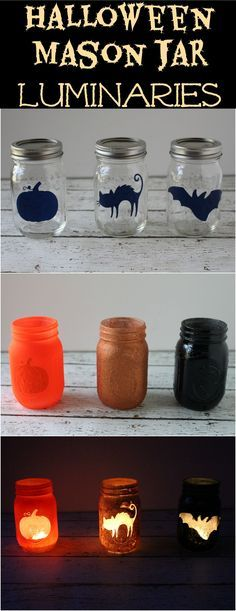 Halloween Mason Jar Luminaries - a crazy easy Halloween decoration and would be great for indoor/outdoor decor.