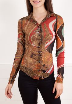 JEAN PAUL GAULTIER  BLOUSE -  A Jean Paul Gaultier natural tone blouse to transition between seasons.