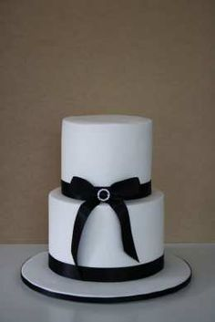 simple two-tier black and white wedding cake