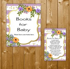 Books for Baby Foral, Baby Shower Book Request Insert Card, Lavender and Gold Watercolor Floral Baby Shower, BBL04O Instant Download