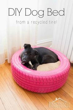 Turn an old tire into a DIY dog bed!