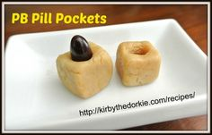 Make your own Peanut butter Pill Pockets for dogs (positive can substitute pumpkin or another puree for peanut allergies Homemade Dog Treats, Pet Treats, Dog Treat Recipes, Dog Food Recipes, Pill Pockets, Biscuits, Chef Cookbook, Grain Free Dog Food, Frozen Dog