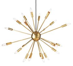 Satellite chandelier - this would be even cuter with round bulbs.