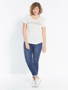 """Collection Automne/Hiver 2015 - T-shirt à message, bi-matière : """"Sans botox ni lifting"""". Coloris : Blanc. #Balsamik"""