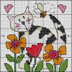 FREE Cross stitch Cute Cat Chart   Lesley Teare Thoughts on Design
