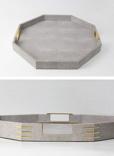 A stylish octagonal tray in a contemporary design finished in designer barley shagreen with exclusive brass handles and fittings. The tray can be used as a drinks, serving tray or display tray and looks elegant in both contemporary & traditional interior settings. It makes a perfect gift, present for any occasion.