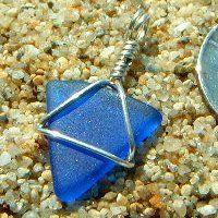 Petite Cobalt Blue Sea Glass Triangle Wire Pendant