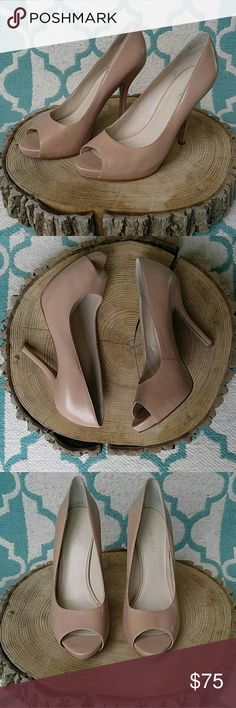"""Nine West Fluter Nude Leather Pumps Beautiful 100% leather, nude pumps! Gently used and in near perfect condition! Heel measures 4"""" Thanks for looking! Nine West Shoes Heels"""
