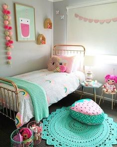 Turquoise Room Ideas - Turquoise it could be vibrant and strong, it's also comforting and also relaxing.Here are of the very best turquoise room interior decoration ideas. Big Girl Bedrooms, Little Girl Rooms, Bedroom Girls, Room Decor For Girls, 4 Year Old Girl Bedroom, Kids Bedroom Ideas For Girls, Ikea Girls Room, Girls Daybed, Girls Bedroom Furniture