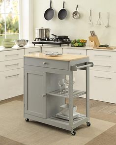 Oliver and Smith – Nashville Collection – Mobile Kitchen Island Cart on Whee. Oliver and Smith – Nashville Collection – Mobile Kitchen Island Cart on Wheels – Wooden Grey – Natural Oak Butcher Block – W x L x H Mobile Kitchen Island, Kitchen Island On Wheels, Rolling Kitchen Island, Kitchen Island Decor, Modern Kitchen Island, Bar Kitchen, Kitchen Layout, Kitchen Dining, Kitchen Ideas