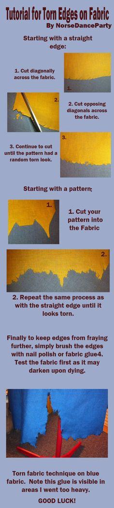 Torn fabric distressing tutorial - http://norsedanceparty.deviantart.com/art/Torn-Fabric-Tutorial-367269016