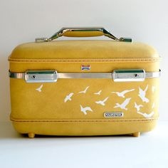 Vintage Upcycled sunshine YELLOW American Tourister TRAIN CASE - hand painted - Carry on - Weekend bag - Makeup Case - Organizer - Luggage | $66.00