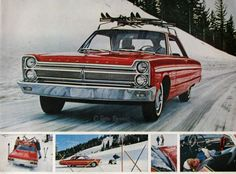 1965 Plymouth Fury Ad Winter Ski Vacation 1960s Classic