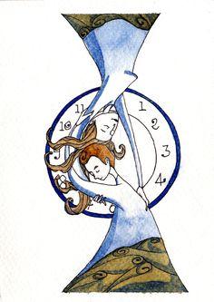Momenti senza tempo, momenti di adesso. by IreneMontano #hourglass #illustration #love #notime #watercolors