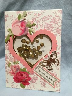 Anna Griffin Valentine Shaker card kit with AG flower embellishments.