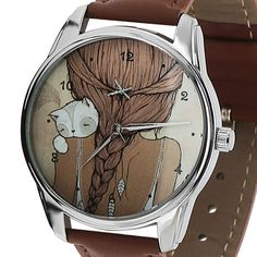 Girl and Cat Style Watch with Black Leather Band Gift for Girlfriend 8 March NEW #Girl with cat