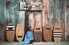 Vintage body surfing boards can become side tables, stacking tv tables, shelving, wall decor, bathroom counter space.....what did you think of?