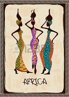 Illustration about Vintage illustration with three beautiful slim African women in colorful ethnic patterned dresses. Illustration of grace, brown, dress - 34898338 Pintura Tribal, Wal Art, Beautiful African Women, African Quilts, Afrique Art, African Art Paintings, Ethnic Patterns, African Tribal Patterns, Afro Art