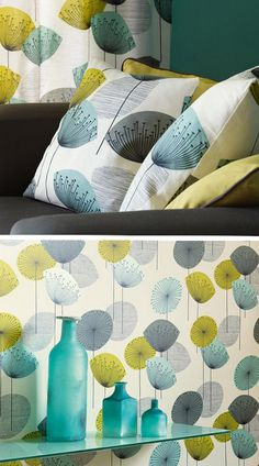 Loving this wallpaper/fabric pattern and it's Lucienne Day vibe — available from Sanderson. via SeeSaw