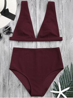 Textured Plunge High Waisted Bikini Set - BURGUNDY M