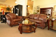 Brown Leather Sofa & Chair, Colleen's Classic Consignment - Las Vegas, NV