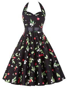 Damen rockabilly kleid 50er jahre kleid Blumenprint ballkleider knielang XS